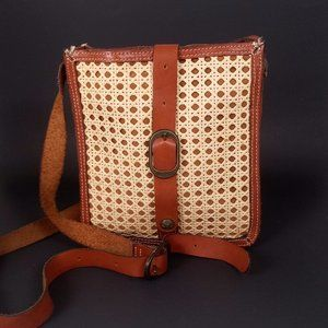 Patricia Nash Crossbody Purse Leather Wicker Tan